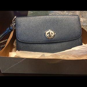 Coach Chain Blue Metallic Leather Cross Body Bag